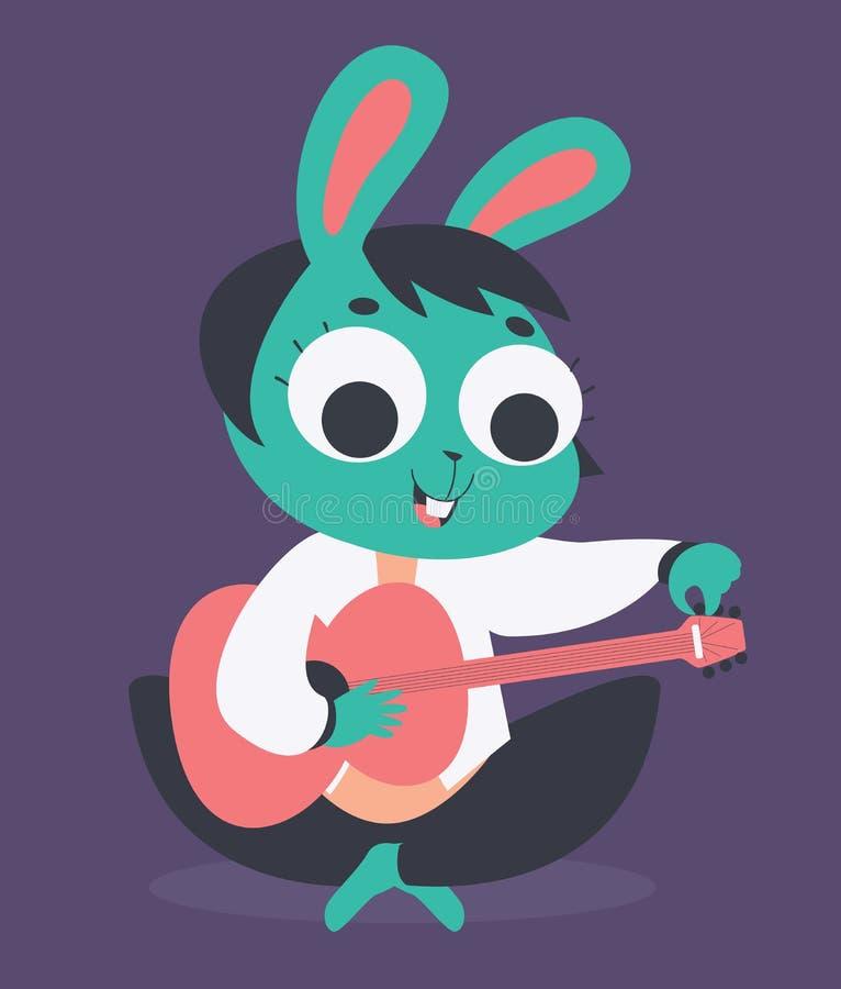 Χαριτωμένο κορίτσι λαγουδάκι που συντονίζει την ακουστική κιθάρα διανυσματική απεικόνιση