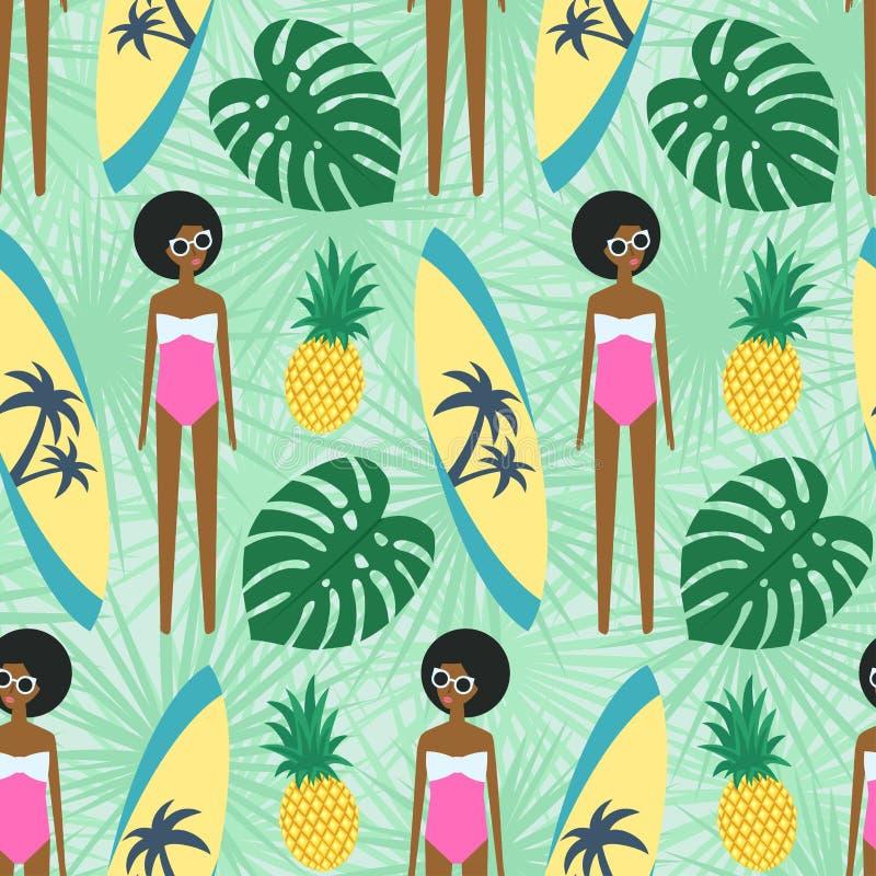 Χαριτωμένο κορίτσι αφροαμερικάνων με το άνευ ραφής σχέδιο άδειας ιστιοσανίδων, ανανά και φοινικών απεικόνιση αποθεμάτων