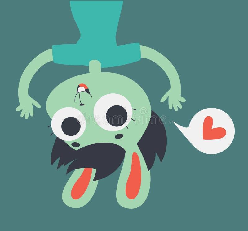 Χαριτωμένο κορίτσι εραστών λαγουδάκι που παρουσιάζει ανάποδα στην οθόνη απεικόνιση αποθεμάτων