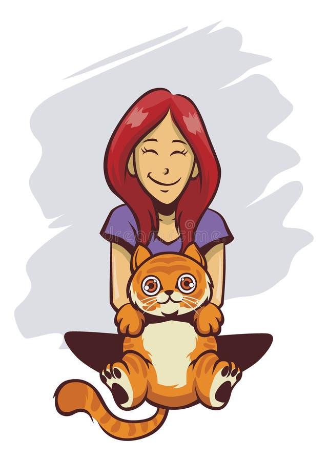 Χαριτωμένο κορίτσι και χαριτωμένη γάτα απεικόνιση αποθεμάτων