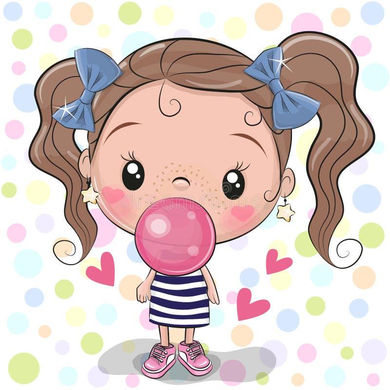 Χαριτωμένο κορίτσι κινούμενων σχεδίων με τη γόμμα φυσαλίδων διανυσματική απεικόνιση