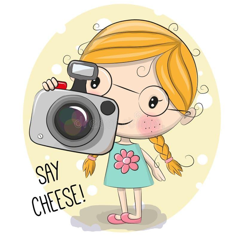 Χαριτωμένο κορίτσι κινούμενων σχεδίων με μια κάμερα απεικόνιση αποθεμάτων