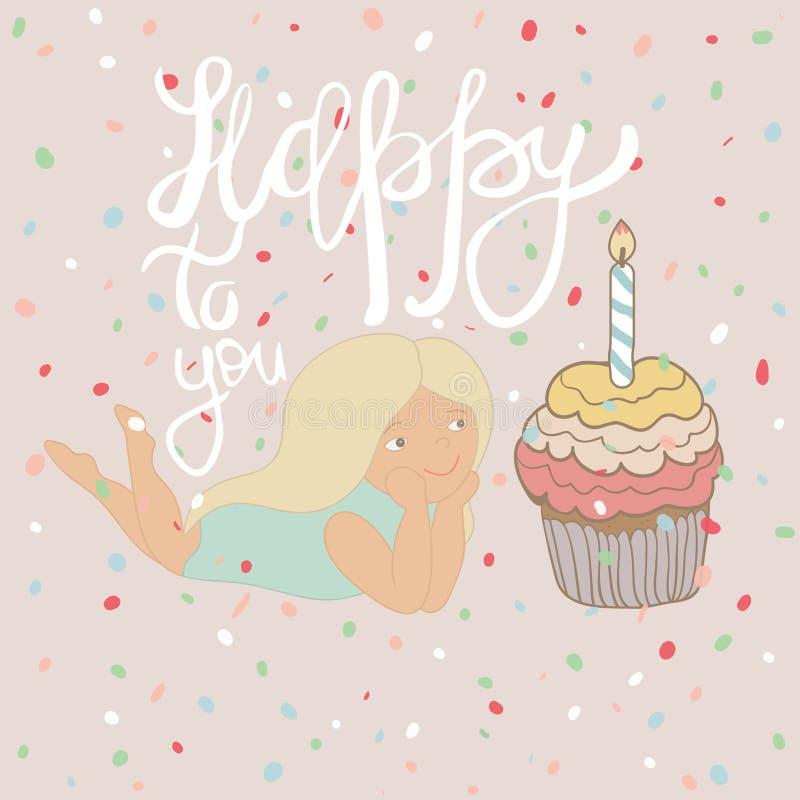 Χαριτωμένο κορίτσι κινούμενων σχεδίων με τα γενέθλια cupcake και γράφοντας - ευτυχής σε σας Hand-drawn απεικόνιση ύφους σκίτσων ελεύθερη απεικόνιση δικαιώματος