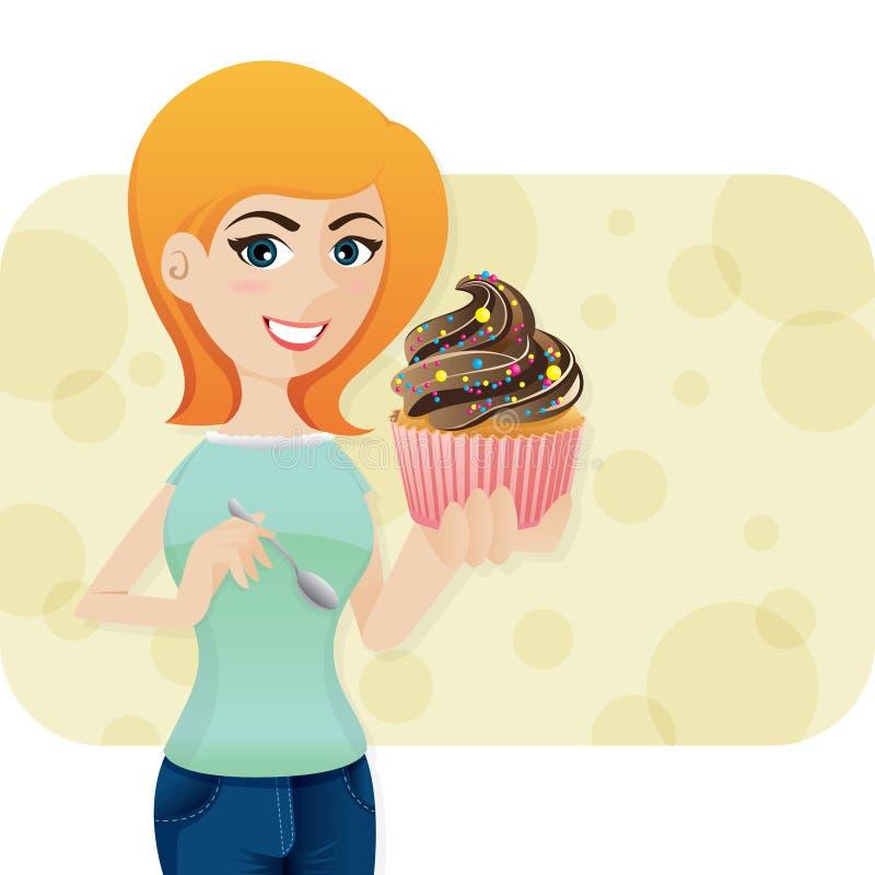 Χαριτωμένο κορίτσι κινούμενων σχεδίων με τα sweeties cupcake διανυσματική απεικόνιση