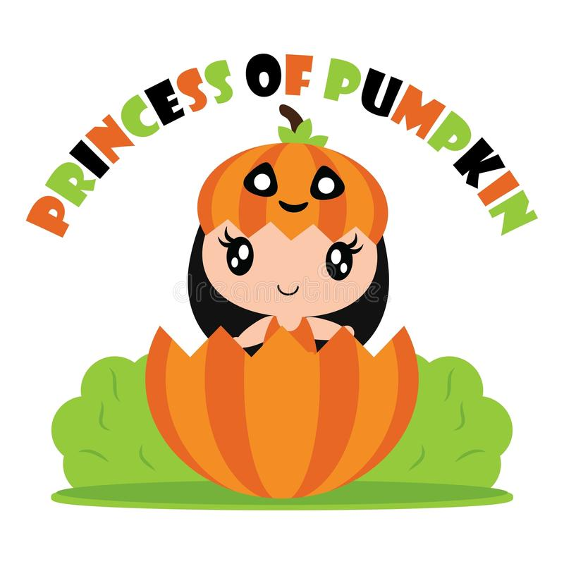 Χαριτωμένο κορίτσι κολοκύθας πριγκηπισσών στην απεικόνιση κινούμενων σχεδίων φρούτων κολοκύθας για το σχέδιο καρτών αποκριών ελεύθερη απεικόνιση δικαιώματος