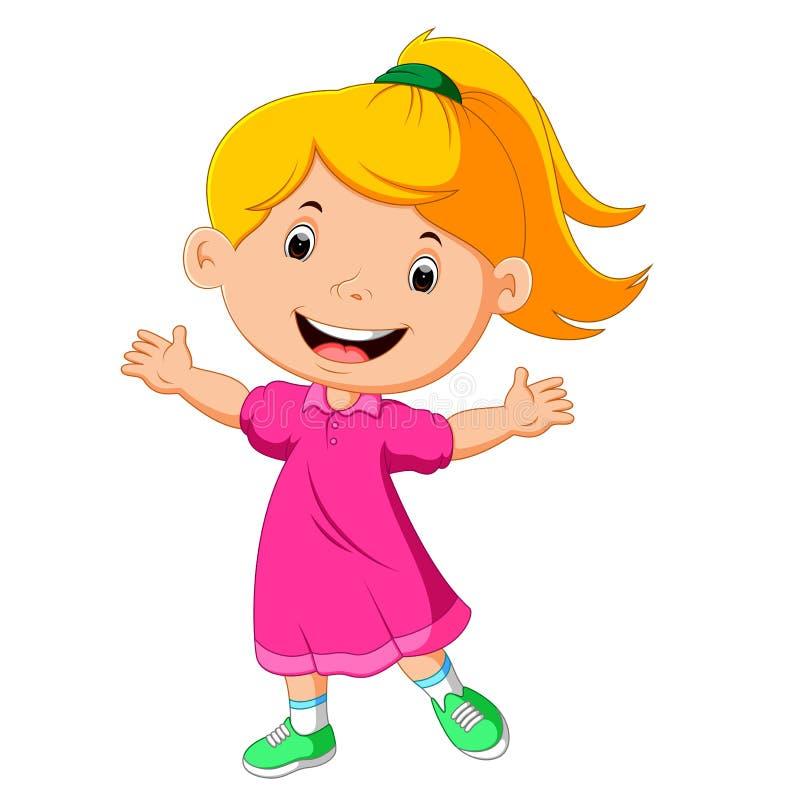 χαριτωμένο κορίτσι λίγα διανυσματική απεικόνιση
