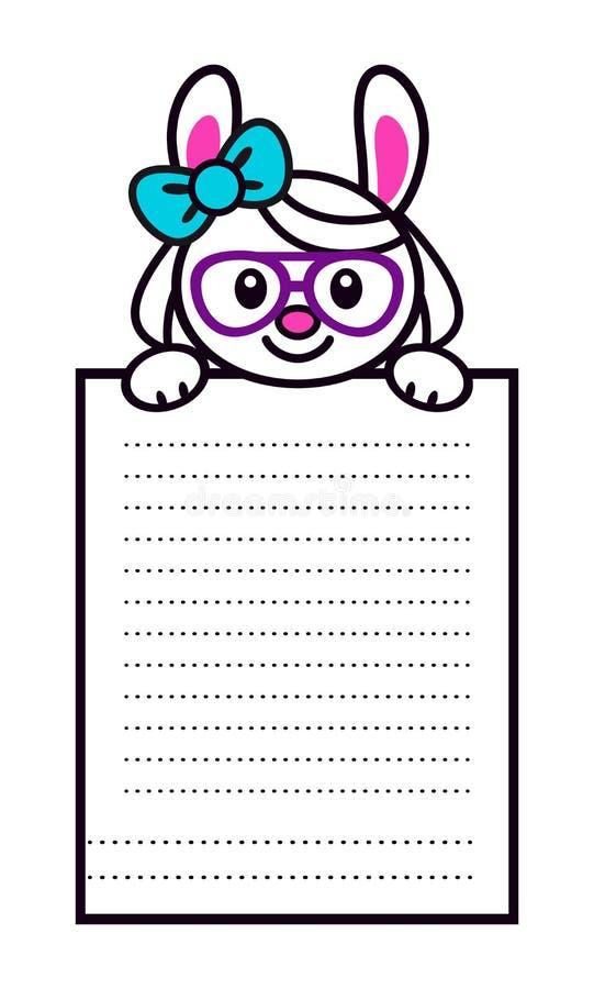 Χαριτωμένο κορίτσι λαγουδάκι κινούμενων σχεδίων με τη μεγάλη σελίδα εγγράφου ελεύθερη απεικόνιση δικαιώματος