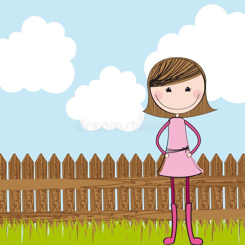 Χαριτωμένο κορίτσι με την ξύλινη φραγή απεικόνιση αποθεμάτων