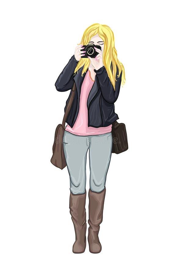 Χαριτωμένο κορίτσι με τη κάμερα στα χέρια της Γυναίκα μόδας με τη κάμερα φωτογραφιών επίσης corel σύρετε το διάνυσμα απεικόνισης  ελεύθερη απεικόνιση δικαιώματος