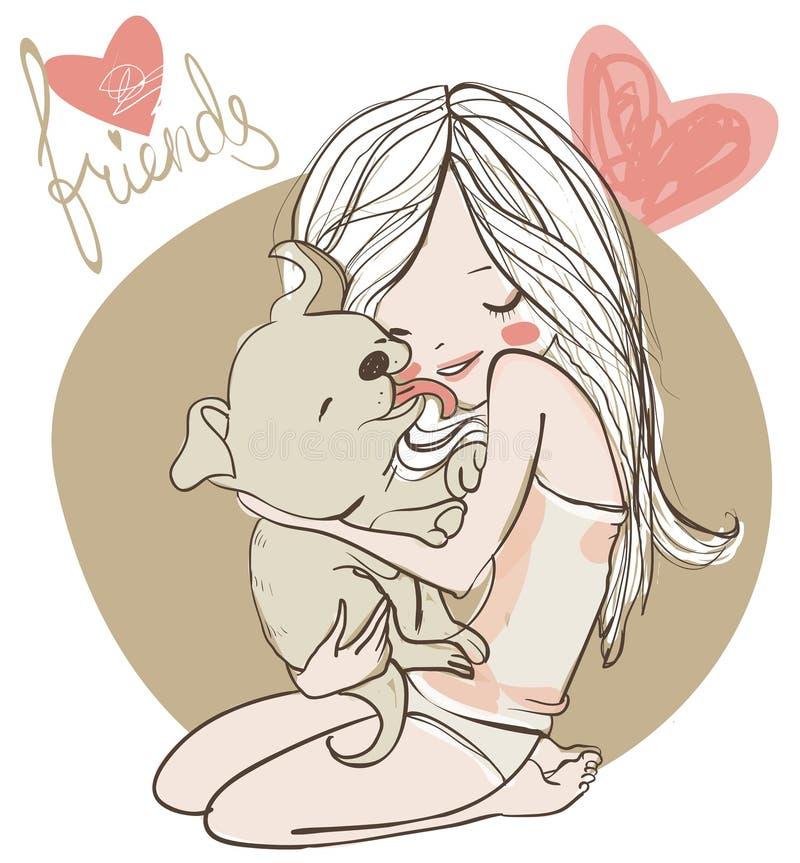 Χαριτωμένο κορίτσι με το κουτάβι απεικόνιση αποθεμάτων