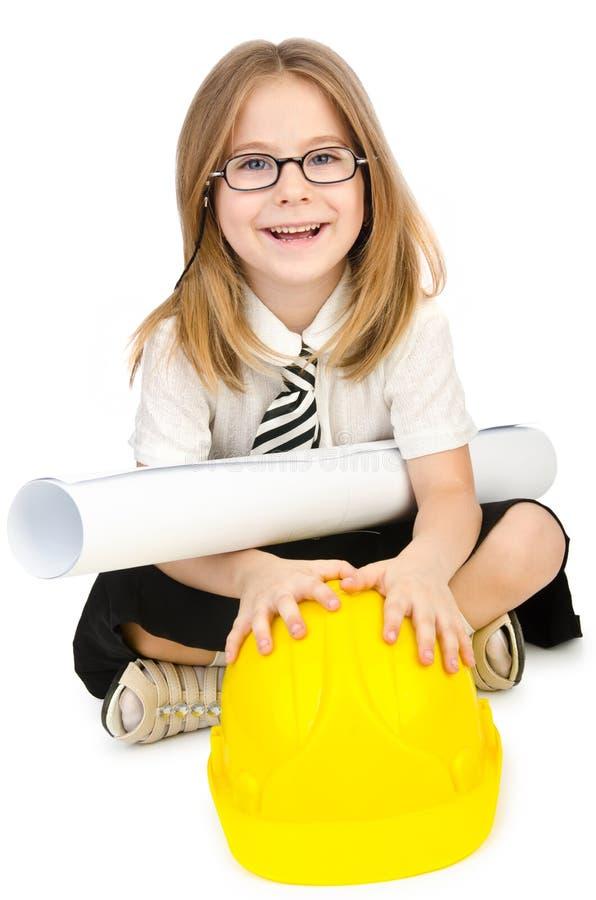 Χαριτωμένο κορίτσι με το κράνος στοκ φωτογραφία