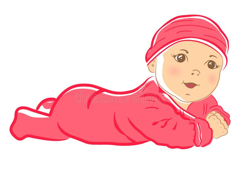 χαριτωμένο κορίτσι μωρών λί&gam Σερνμένος αγοράκι στο μπλε συνολικά διανυσματική απεικόνιση