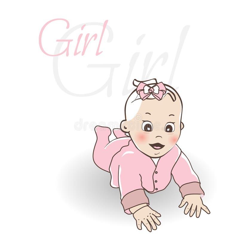 χαριτωμένο κορίτσι μωρών λί&gam Σερνμένος αγοράκι στο μπλε συνολικά ελεύθερη απεικόνιση δικαιώματος