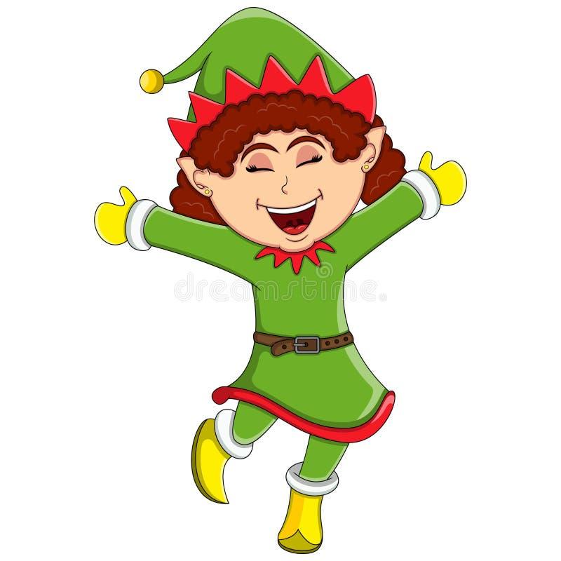 Χαριτωμένο κορίτσι νεραιδών Χριστουγέννων - κινούμενα σχέδια διανυσματική απεικόνιση