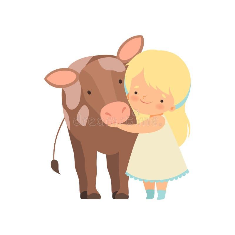Χαριτωμένο κορίτσι που αγκαλιάζει το μόσχο, παιδί που αλληλεπιδρά με τη ζωική σε επαφή διανυσματική απεικόνιση κινούμενων σχεδίων διανυσματική απεικόνιση