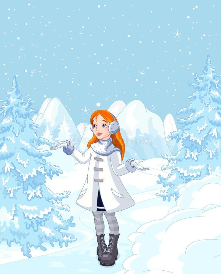 Χαριτωμένο κορίτσι που απολαμβάνει χιονοπτώσεις απεικόνιση αποθεμάτων