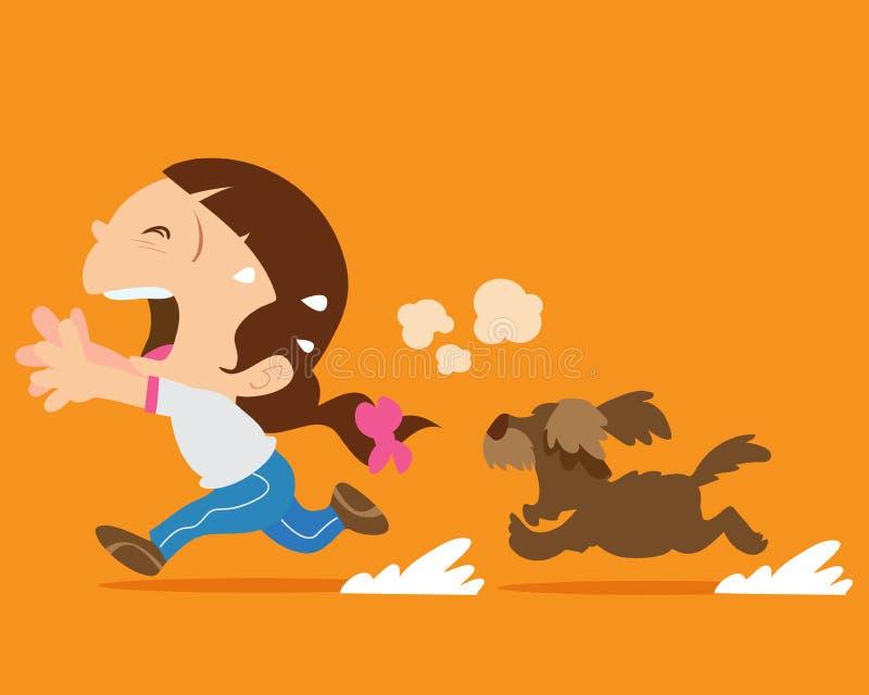 Χαριτωμένο κορίτσι που τρέχει μακρυά από το σκυλί απεικόνιση αποθεμάτων