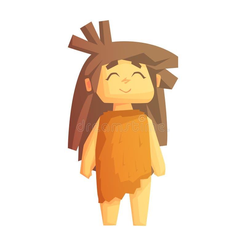 Χαριτωμένο κορίτσι σπηλιών που χαμογελά με τις ιδιαίτερες προσοχές, χαρακτήρας εποχής του λίθου, ζωηρόχρωμη διανυσματική απεικόνι διανυσματική απεικόνιση