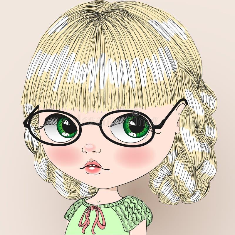 Χαριτωμένο κορίτσι στα γυαλιά με τις πλεξίδες ελεύθερη απεικόνιση δικαιώματος