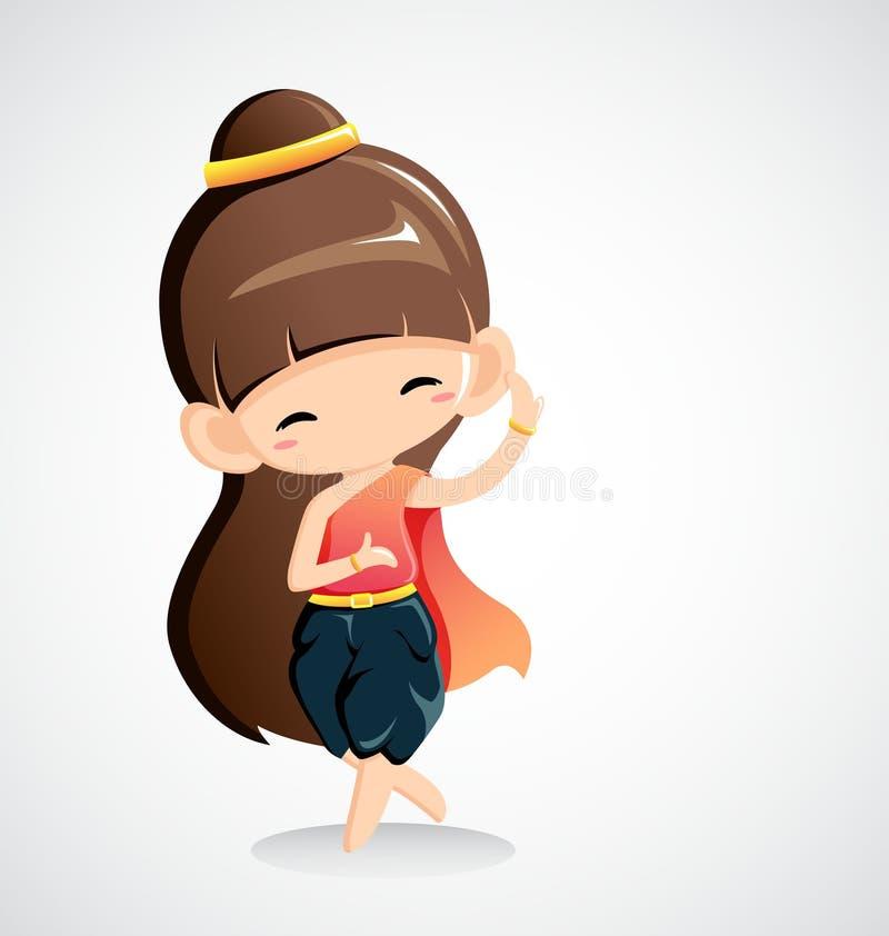 Χαριτωμένο κορίτσι στο εθνικό κοστούμι - ταϊλανδικός χορός απεικόνιση αποθεμάτων