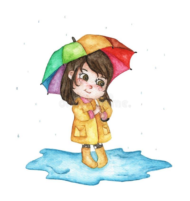 Χαριτωμένο κορίτσι στο κρύψιμο αδιάβροχων κάτω από τη ζωηρόχρωμη ομπρέλα που απομονώνεται στο άσπρο υπόβαθρο διανυσματική απεικόνιση