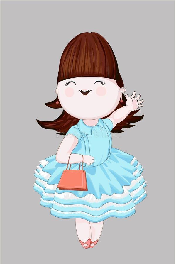 Χαριτωμένο κορίτσι στο μπλε φόρεμα στοκ εικόνες με δικαίωμα ελεύθερης χρήσης