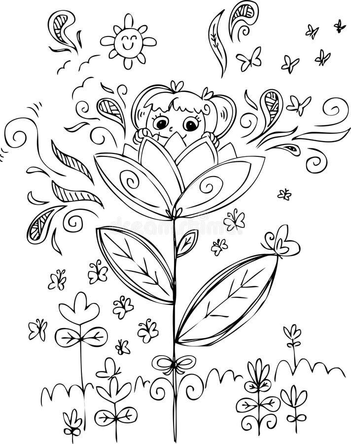 Χαριτωμένο κορίτσι στο λουλούδι διανυσματική απεικόνιση