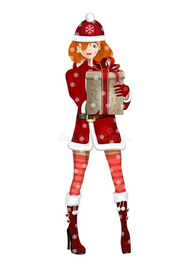 Χαριτωμένο κορίτσι στο κορίτσι χιονιού κοστουμιών μια χιονώδη χειμερινή ημέρα επίσης ως γνωστό χιόνι snegourochka της Ρωσίας κορι διανυσματική απεικόνιση