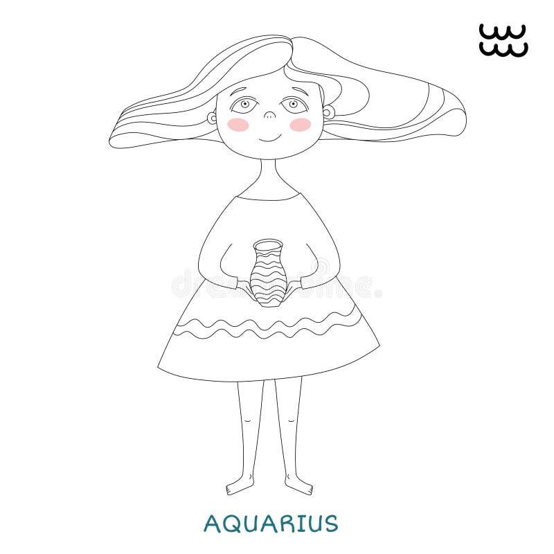Χαριτωμένο κορίτσι υπό μορφή zodiac σημαδιού aquinas διανυσματική απεικόνιση
