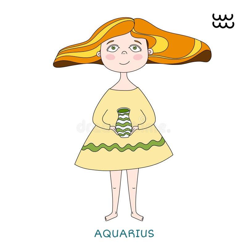Χαριτωμένο κορίτσι υπό μορφή zodiac σημαδιού aquinas απεικόνιση αποθεμάτων
