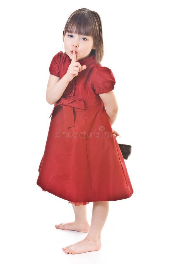 χαριτωμένο κορίτσι φορεμάτων λίγα κόκκινα στοκ εικόνα με δικαίωμα ελεύθερης χρήσης