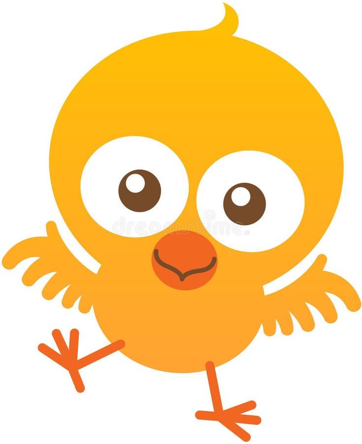 Χαριτωμένο κοτόπουλο μωρών που χτυπά και που χαμογελά ενθουσιωδώς ελεύθερη απεικόνιση δικαιώματος