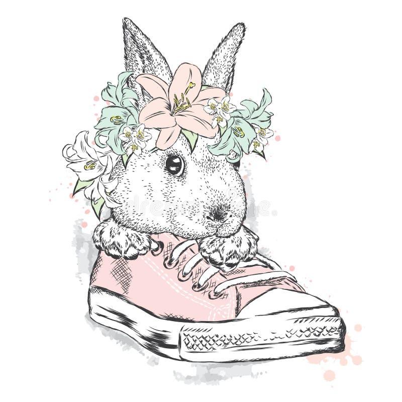 Χαριτωμένο κουνέλι σε ένα στεφάνι λουλουδιών Συνεδρίαση λαγών στα πάνινα παπούτσια Διανυσματική απεικόνιση για τη ευχετήρια κάρτα απεικόνιση αποθεμάτων