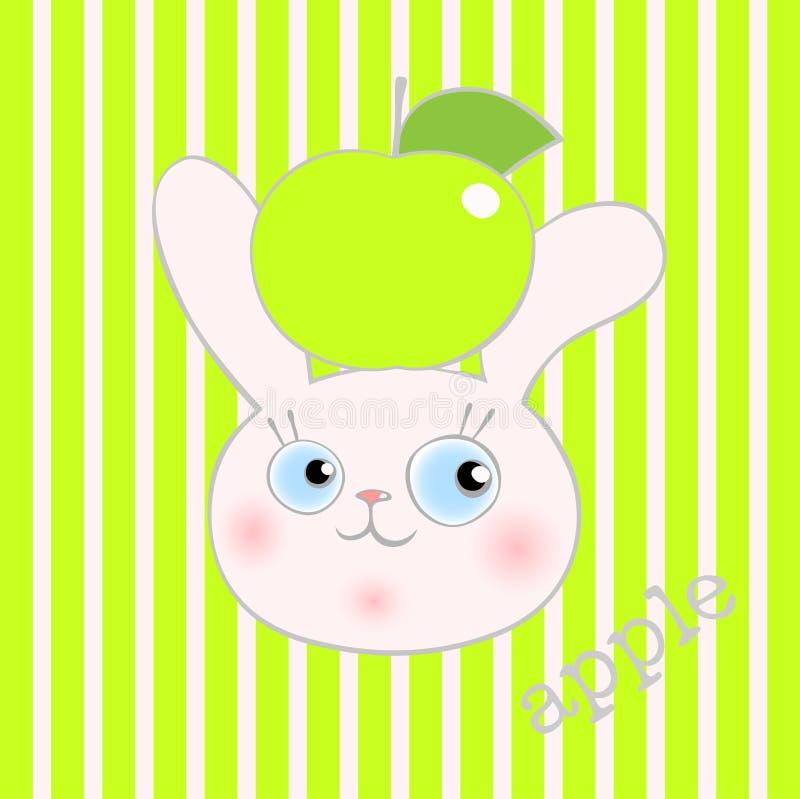 Χαριτωμένο κουνέλι smiley με το πράσινο μήλο στοκ φωτογραφία