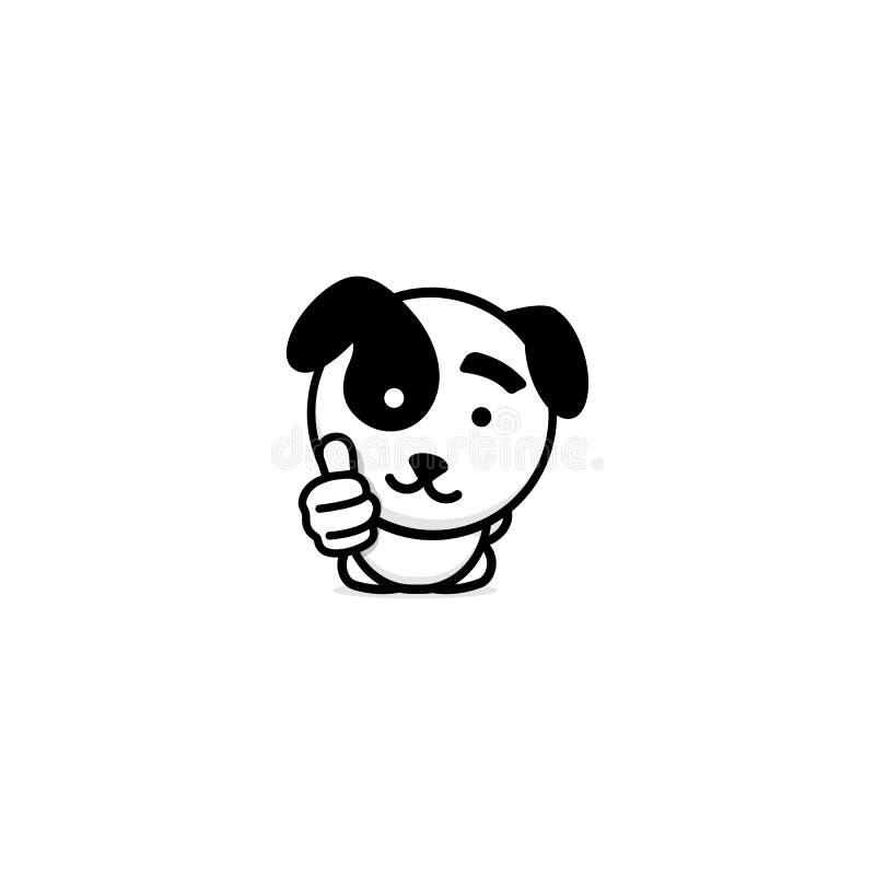 Χαριτωμένο κουτάβι που παρουσιάζουν όπως, αντίχειρας του χεριού, υψηλή εκτίμηση και διανυσματικό λογότυπο έγκρισης Καλοψημένη απε απεικόνιση αποθεμάτων