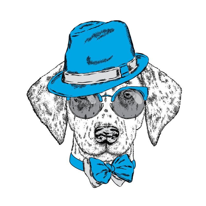 Χαριτωμένο κουτάβι που φορά ένα καπέλο, τα γυαλιά ηλίου και έναν δεσμό επίσης corel σύρετε το διάνυσμα απεικόνισης όμορφο σκυλί d απεικόνιση αποθεμάτων