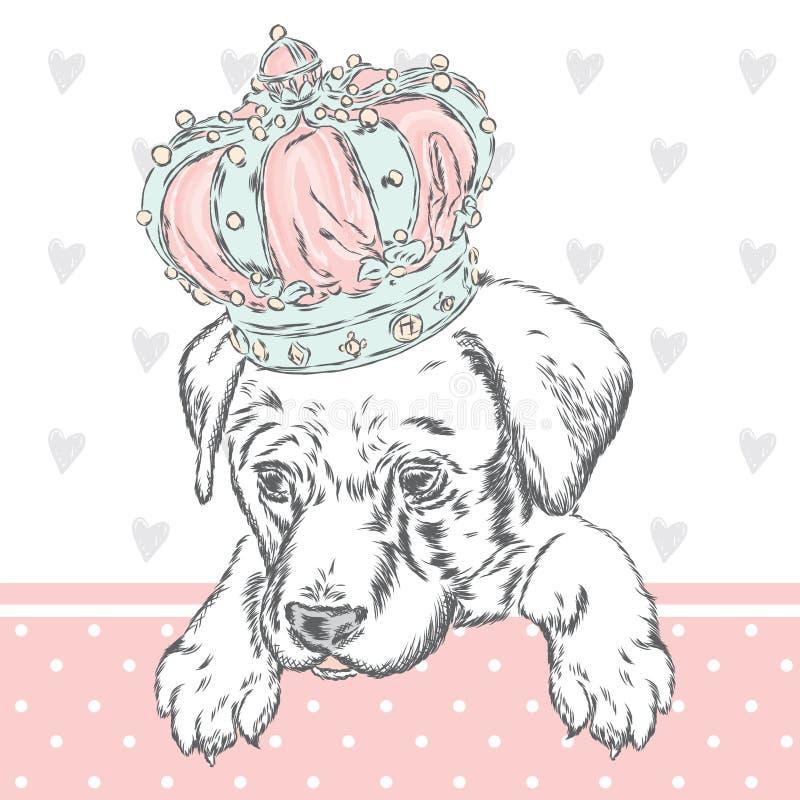 Χαριτωμένο κουτάβι που φορά μια κορώνα Διανυσματική απεικόνιση για τη ευχετήρια κάρτα, την αφίσα, ή την τυπωμένη ύλη στα ενδύματα ελεύθερη απεικόνιση δικαιώματος