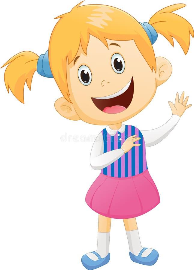 Χαριτωμένο κυματίζοντας χέρι μικρών κοριτσιών απεικόνιση αποθεμάτων