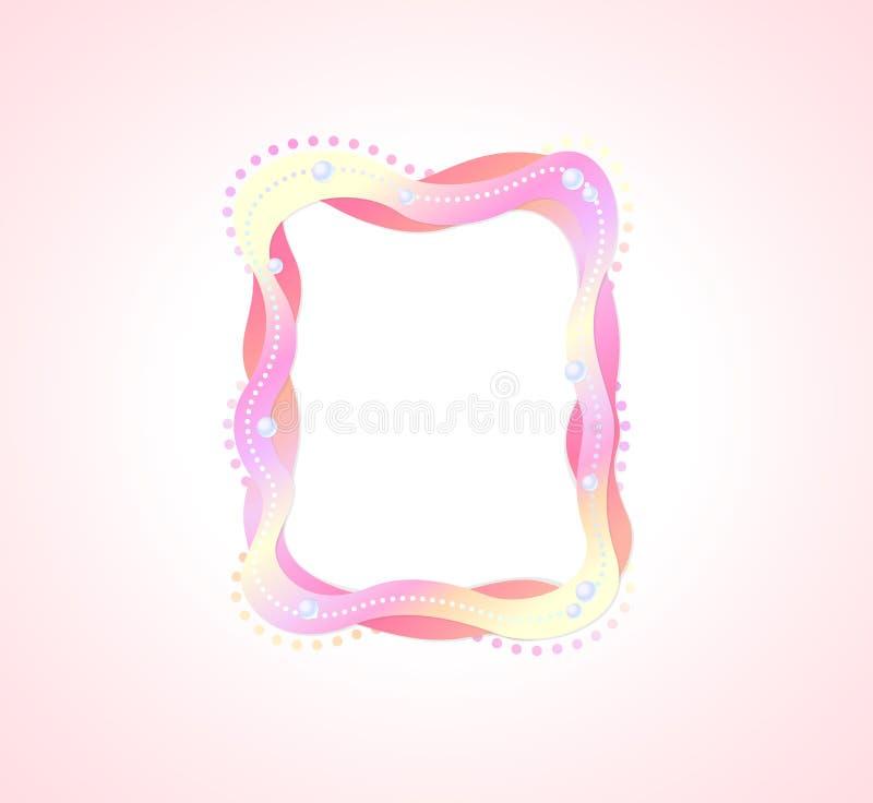 Χαριτωμένο κυματιστό ρόδινο διάνυσμα πλαισίων φωτογραφιών διανυσματική απεικόνιση