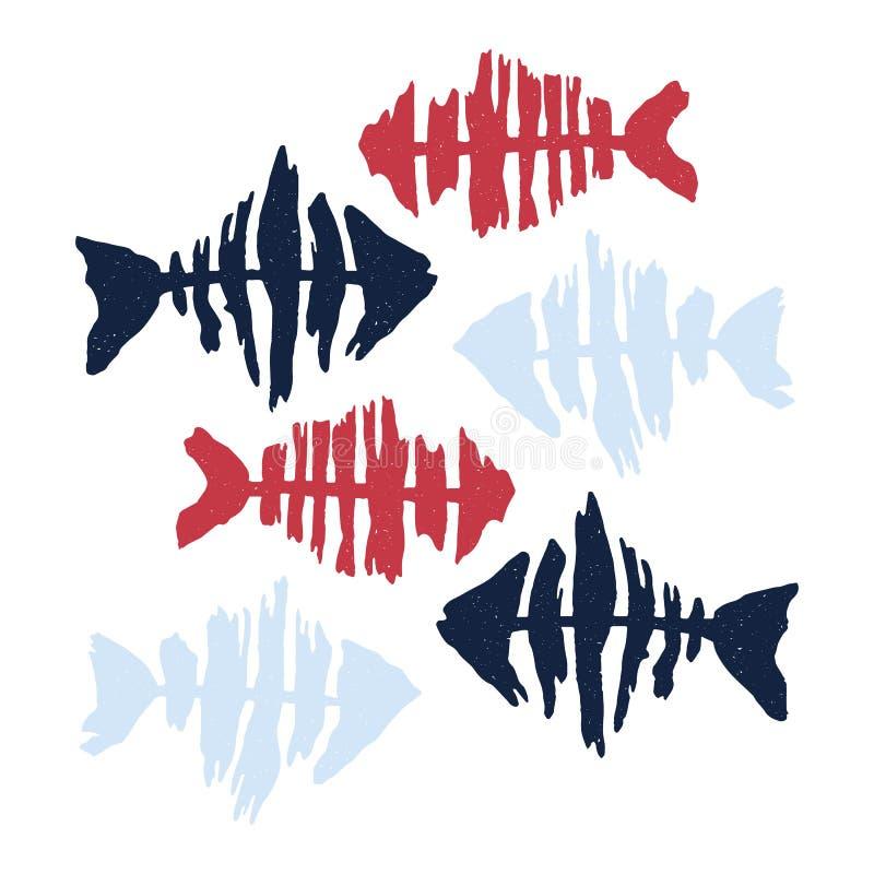 Χαριτωμένο κόκκινο και διανυσματικό σύνολο μοτίβου απεικόνισης κινούμενων σχεδίων σκιαγραφιών ψαριών ναυτικών Το χέρι που σύρθηκε απεικόνιση αποθεμάτων