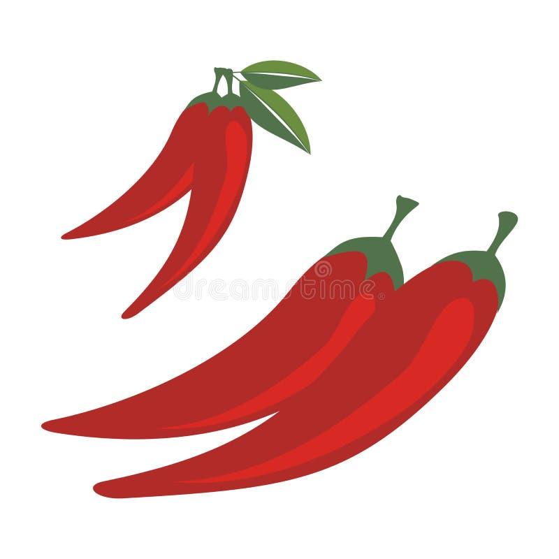 Χαριτωμένο κόκκινο - καυτή απεικόνιση πιπεριών τσίλι απεικόνιση αποθεμάτων