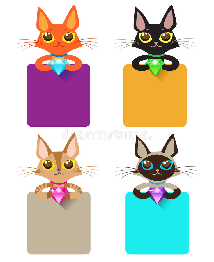 Χαριτωμένο κόσμημα εκμετάλλευσης γατών και διάφορο σημάδι Σύνολο γάτας ελεύθερη απεικόνιση δικαιώματος