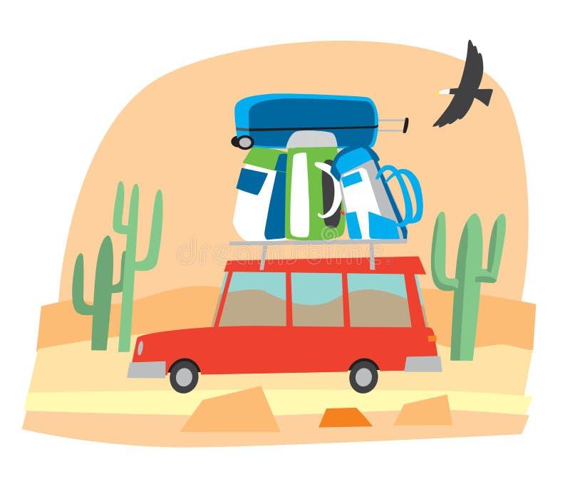 Χαριτωμένο λίγο αυτοκίνητο φέρνει μια δέσμη των σακιδίων πλάτης και των τσαντών ταξιδιού στην έρημο ελεύθερη απεικόνιση δικαιώματος