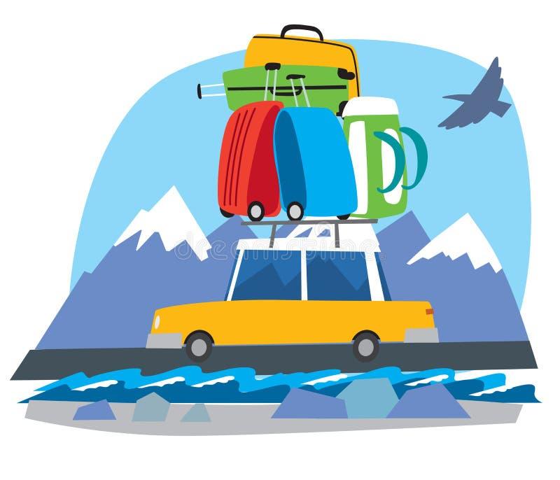 Χαριτωμένο λίγο αυτοκίνητο φέρνει μια δέσμη των σακιδίων πλάτης και των τσαντών ταξιδιού στα βουνά ελεύθερη απεικόνιση δικαιώματος