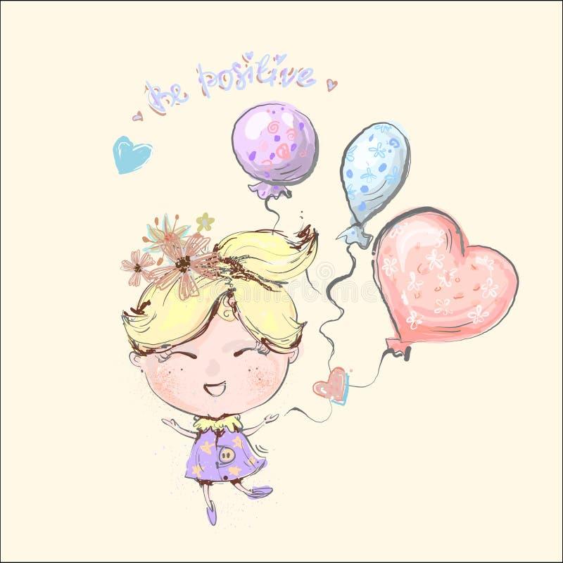 Χαριτωμένο λίγο ξανθό κορίτσι που πετά με τα μπαλόνια, κάρτα γενεθλίων, διανυσματική απεικόνιση, είναι θετική έννοια και θετικό ελεύθερη απεικόνιση δικαιώματος