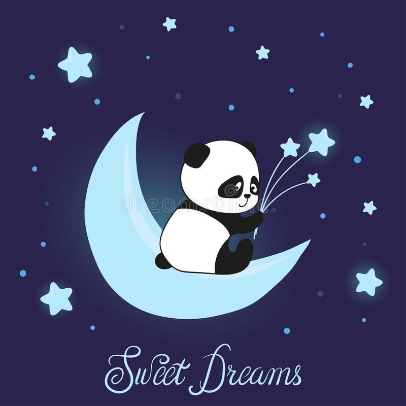 Χαριτωμένο λίγο panda αφορά το φεγγάρι Γλυκό διάνυσμα ονείρων ελεύθερη απεικόνιση δικαιώματος