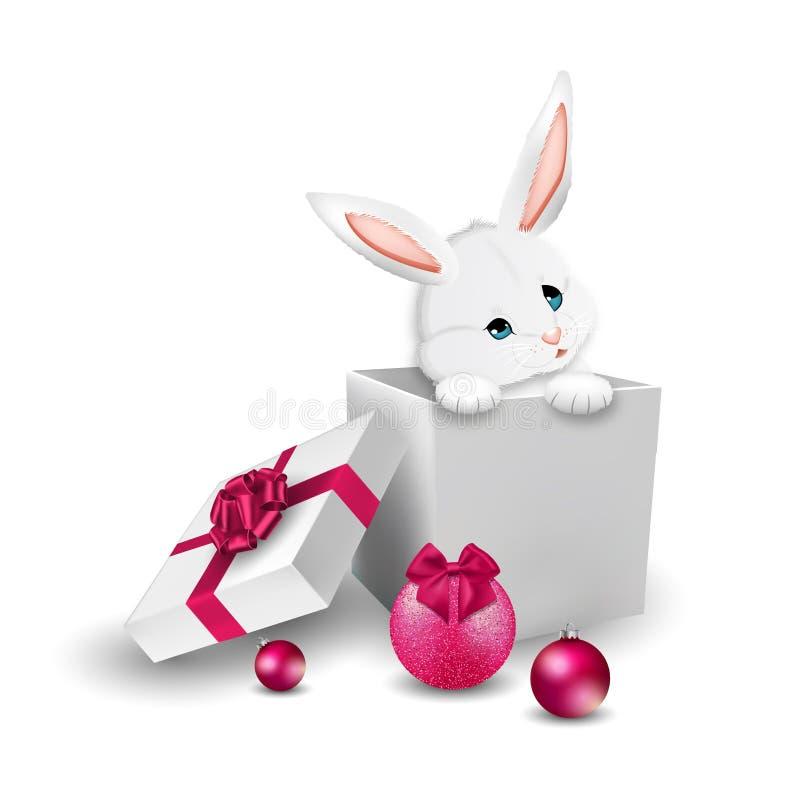 Χαριτωμένο λαγουδάκι κινούμενων σχεδίων στο κιβώτιο δώρων πλαισιωμένη σκηνή διακοπών ανασκόπησης Χριστούγεννα διάνυσμα ελεύθερη απεικόνιση δικαιώματος