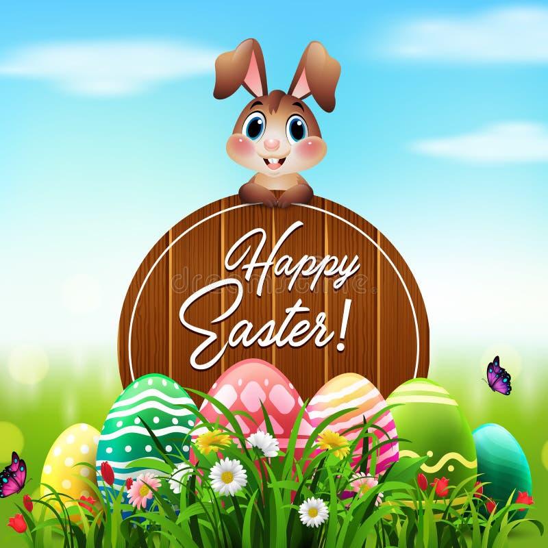 Χαριτωμένο λαγουδάκι Πάσχας με ένα ξύλινο σημάδι και ζωηρόχρωμα αυγά στον κήπο διανυσματική απεικόνιση