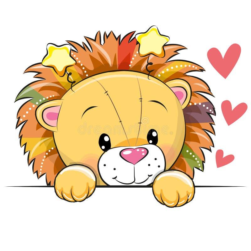 Χαριτωμένο λιοντάρι κινούμενων σχεδίων με τις καρδιές απεικόνιση αποθεμάτων