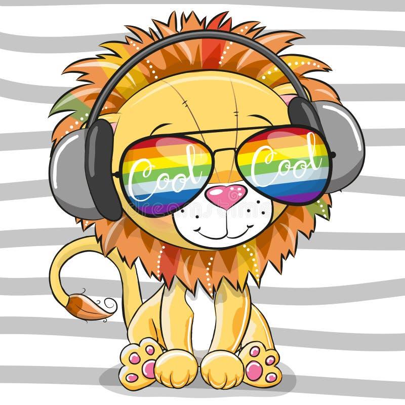 Χαριτωμένο λιοντάρι με τα γυαλιά ήλιων διανυσματική απεικόνιση